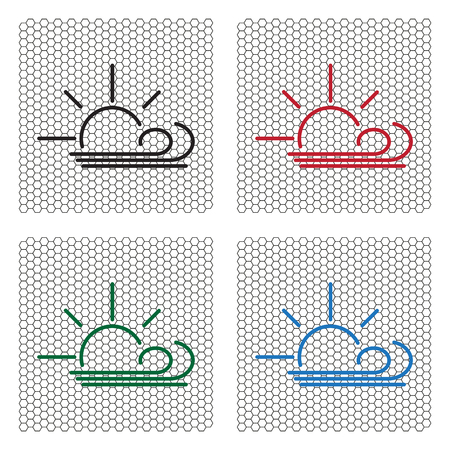 meterology: Sunny, windy, sky icon. Illustration