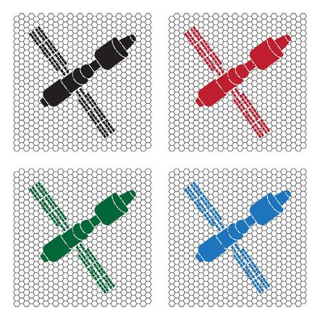 telephony: Satellite sign icon, vector illustration. Illustration