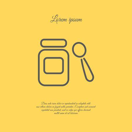 ready logos: Web line icon. Baby food (jar, spoon and puree)