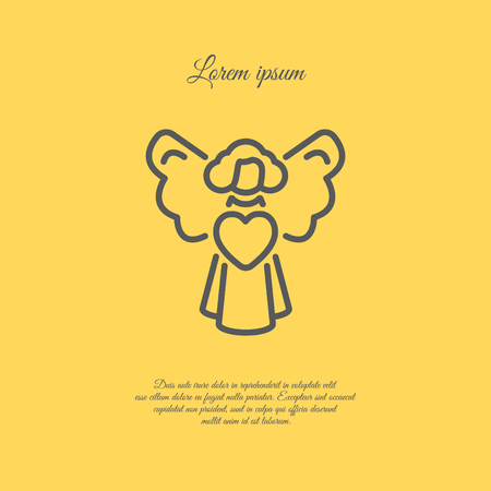 Web line icon. Angel with heart, Valentines Day.