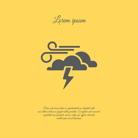 Web icon. Haze (storm). Lightning, clouds and wind. Windy weather