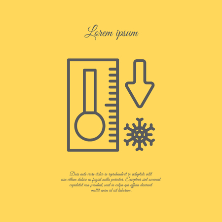 metrology: Web icon. Thermometer with low temperature