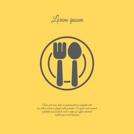 Web line icon. Cutlery, Spoon and fork on a plate Illustration