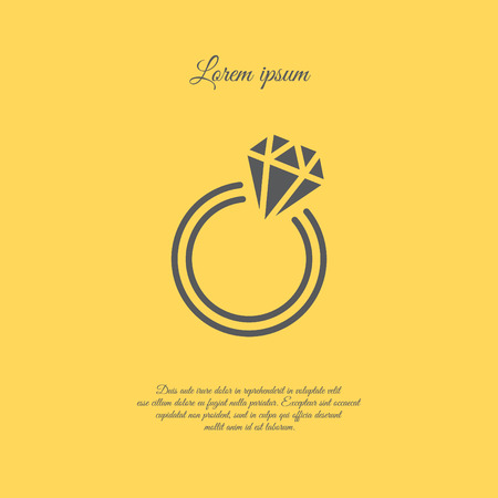 ruby: Web line icon. Diamond ring. Illustration