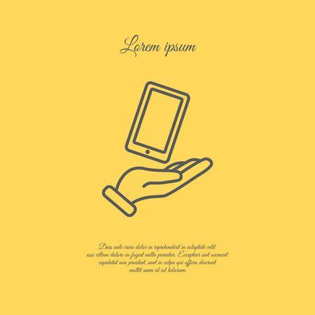 smartphone hand: Web line icon. Smartphone in hand