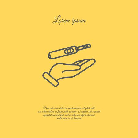 the result pregnancy test: Web line icon. Pregnancy test in hand