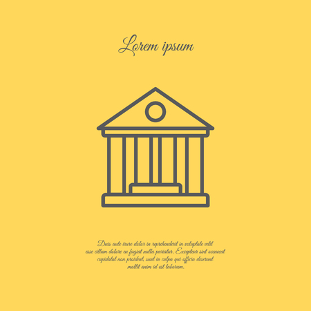 roman column: Web line icon. Classical building with columns (University icon, bank icon)