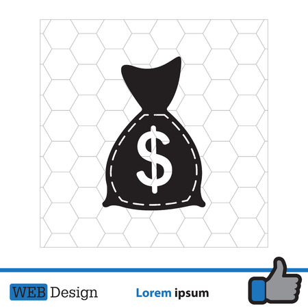 bag of money: bag with money icon Illustration
