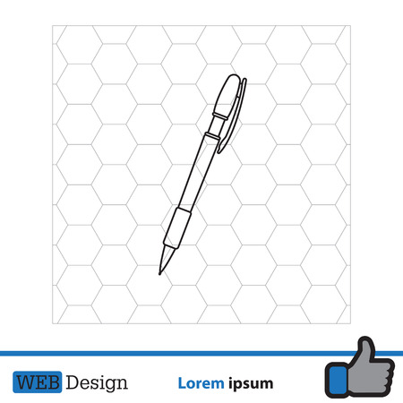 Vector ballpoint pen line icon