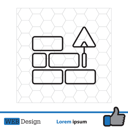 laying: Vector line icons brickwork and building trowel