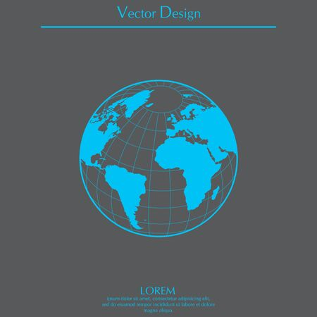 Globe icon with vector map Vetores