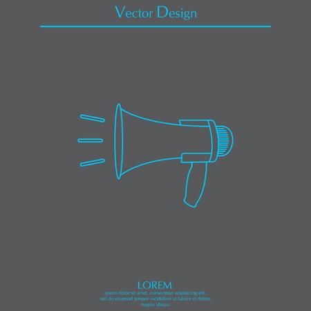 loudhailer: Megaphone, loudspeaker line icon. Loud-hailer