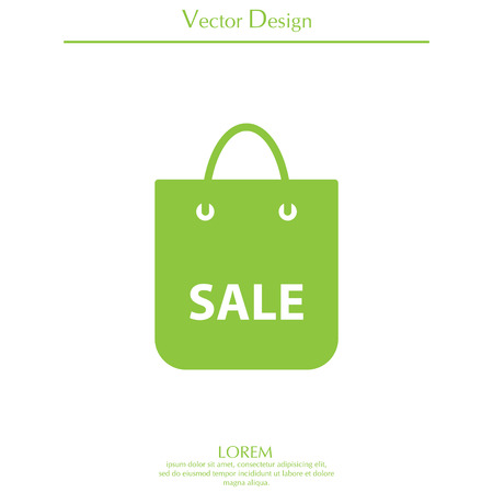 acquirement: Cool sale shopping bag - vector icon