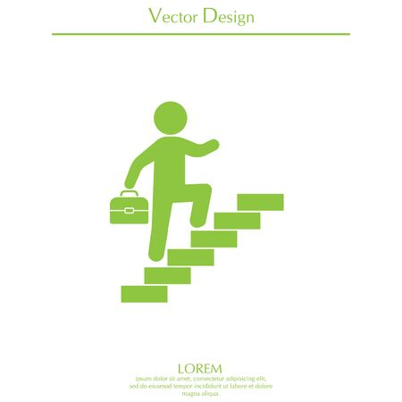 difficulties: Cool businessman walks up the stairs icon