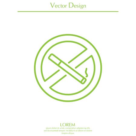 pernicious habit: No smoking sign line icon. Illustration