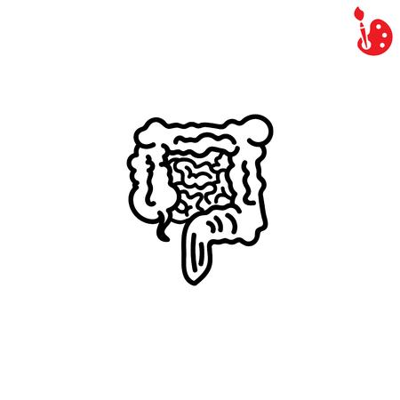 transverse: Web line icon. Intestines Illustration