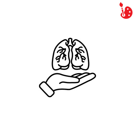 Web line icon. Lungs in hand Illustration