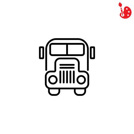 truck driver: Web line icon. School bus