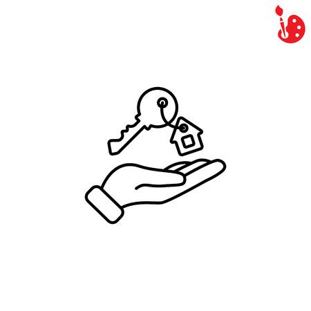 Web lijn icoon. Sleutel in de hand, sleutel uit het huis