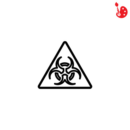 caution chemistry: Web line icon. Radiation hazard Illustration