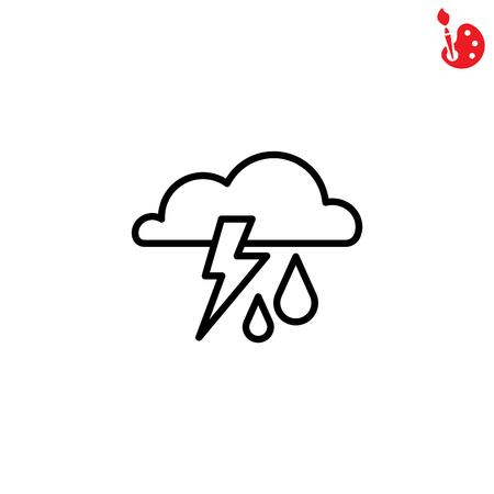 storm cloud: Web icon. Storm. Cloud, lightning and rain