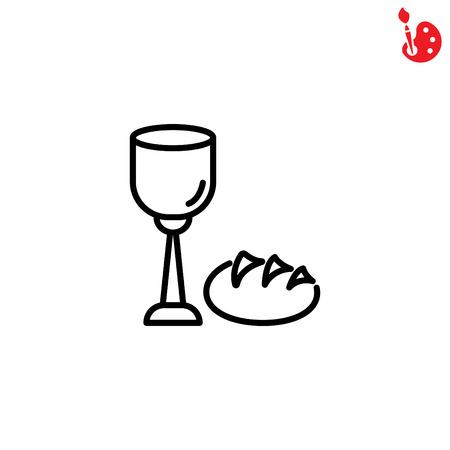 Icono de línea web. La cena del Señor, la comunión, el pan y el vino