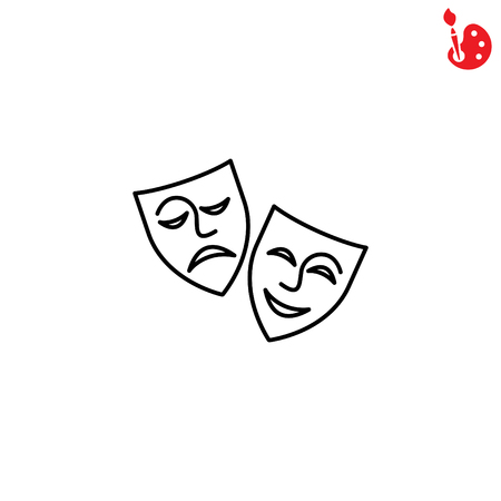 Web icon. Theater masks, comedy and tragedy 矢量图片