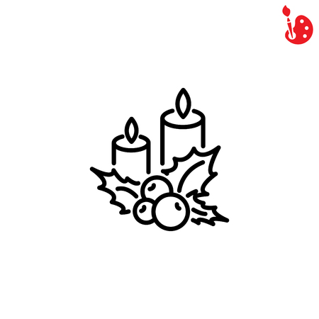 advent candles: Web line icon. Christmas candle and holly berry