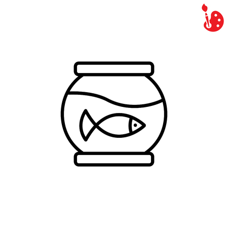 ichthyology: Web line icon. Aquarium.