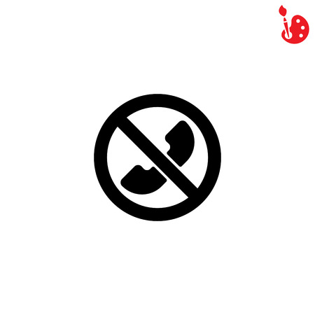 sign not to talk by phone: Web icon. Calls banned, Forbidden call