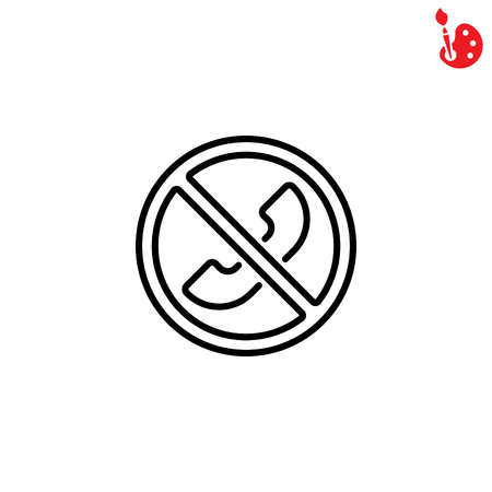sign not to talk by phone: Web icon. Forbidden call, Calls banned