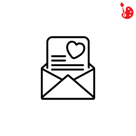 post scripts: Web line icon. Love Letter.