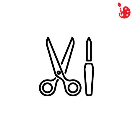 Web line icon. Scissors and nail file Vetores