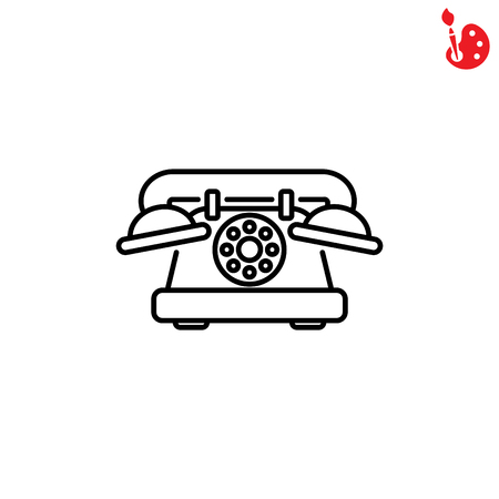 old phone: Web line icon. Old phone