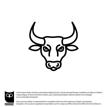 beast ranch: Web line icon. Bull; wild animals