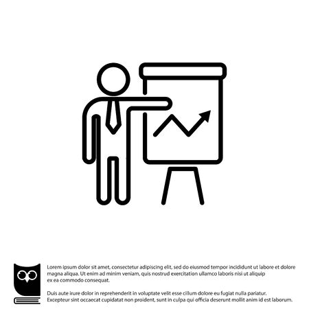 Web line icon. Business; Report (man at the flipchart) Illustration