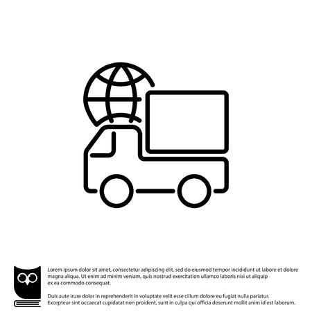 Web line icon. World shipping