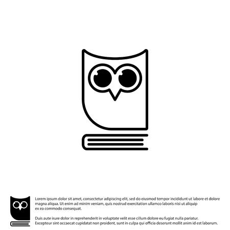 Web icoon. Uil op het boek, logo, onderwijs embleem