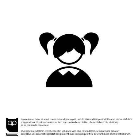 Web icon. Schoolgirl, girl
