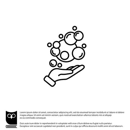 scrubbing: Web line icon. Bubbles in the hand, bubble blower Illustration
