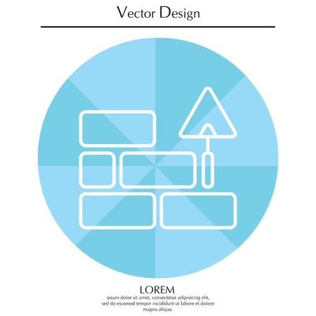 Vector line icone di mattoni e spatola di costruzione