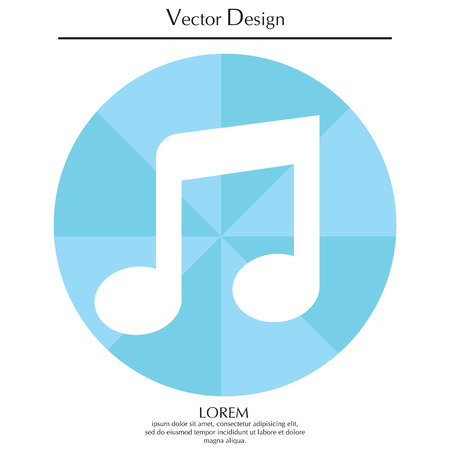 Note (music) icon isolated Illustration
