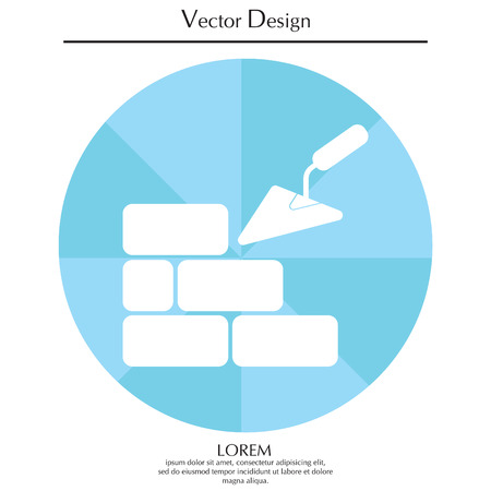 masonry: Vector icons brickwork and building trowel