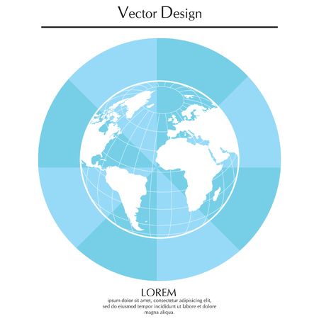 Globe icon with vector map Illustration
