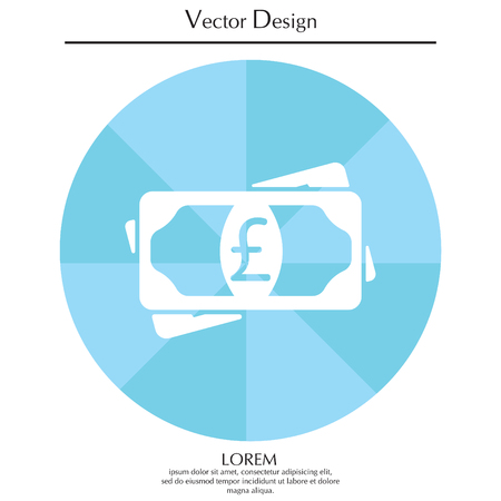Flat icon of money (sterling) vector icon Illustration