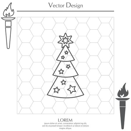 evergreen tree: Fir tree vector line icon. Illustration