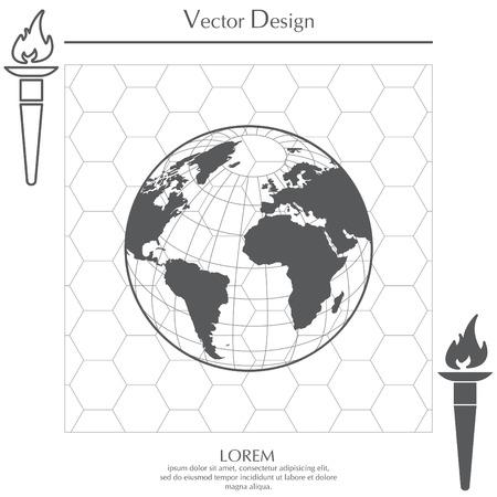 Globo icono con mapa vectorial Foto de archivo - 74156652