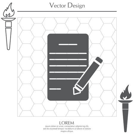 note pad: icon of notes (sheet and pen)