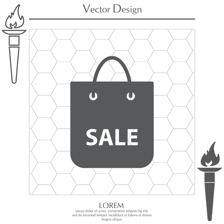 acquirement: shopping bag - vector icon