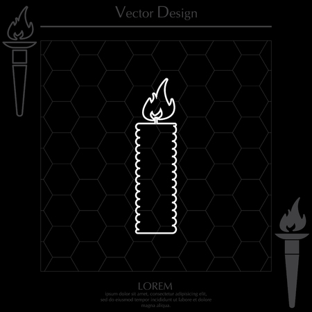 Candle line icon - Vector Illustration